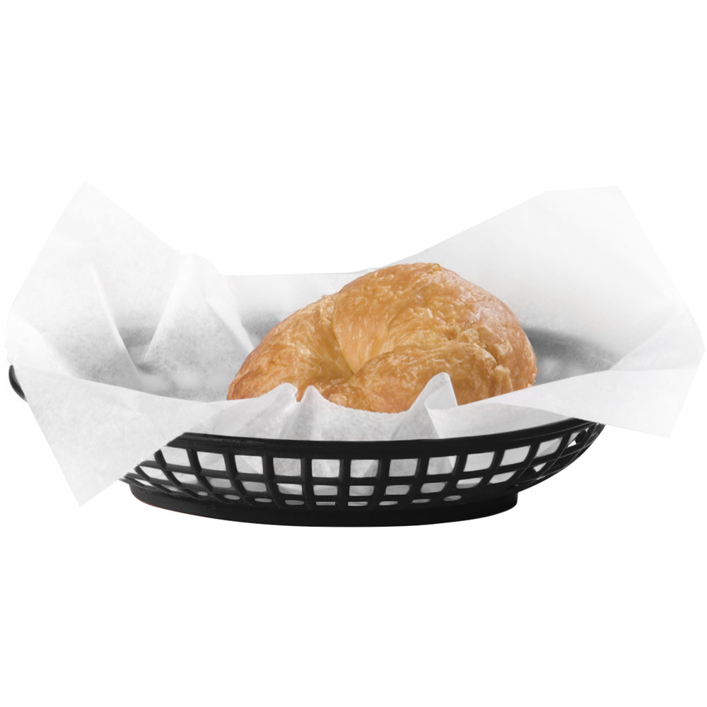 "Carlisle 033303 Black Oval 9"" x 6"" Plastic Food Basket - 36 / Case"