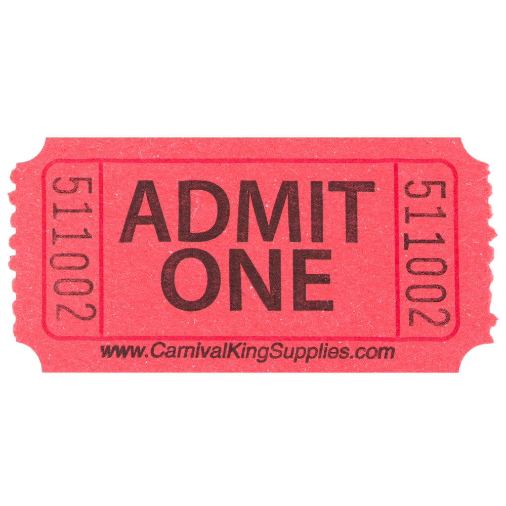 Carnival King Red 1 Part Quot Admit One Quot Tickets 2000 Roll
