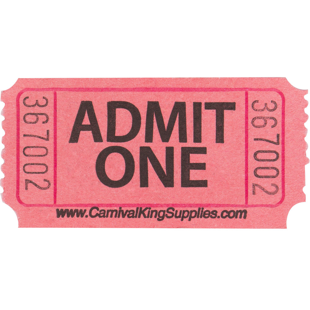 Carnival King Pink 1-Part Admit One Tickets - 2000/Roll