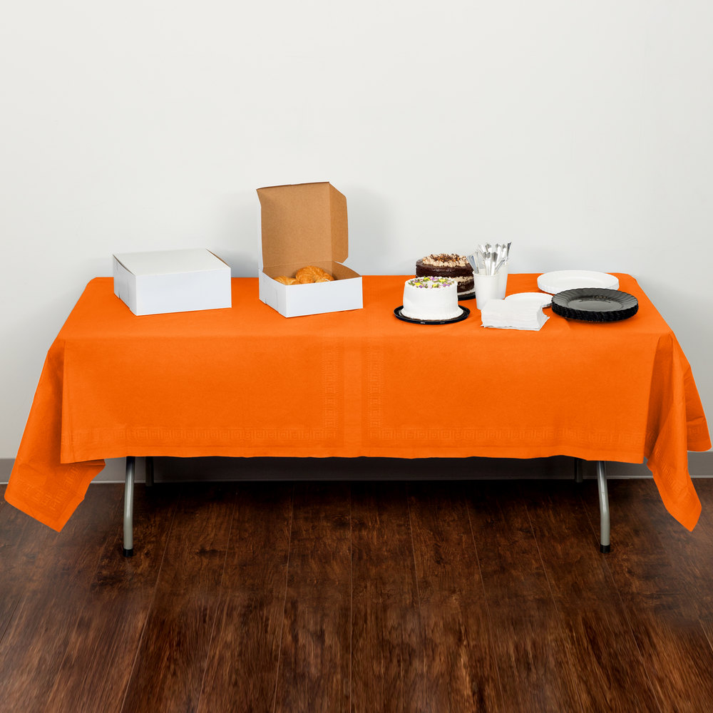 "Creative Converting 710237 54"" x 108"" Sunkissed Orange Tissue / Poly Table Cover - 6/Case"