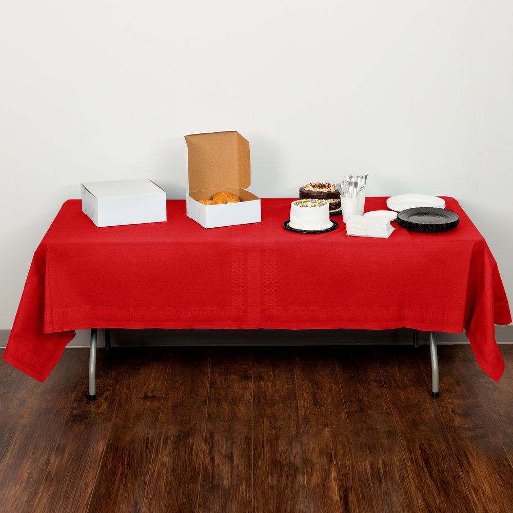 "Creative Converting 711031B 54"" x 108"" Classic Red Tissue / Poly Table Cover - 24/Case"