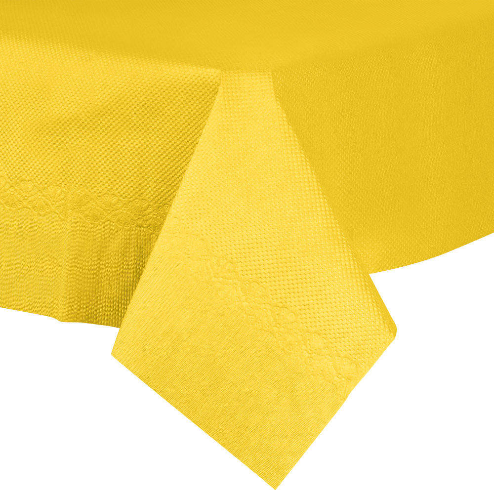"54"" x 54"" Yellow Tissue / Poly Table Cover - 50/Case"