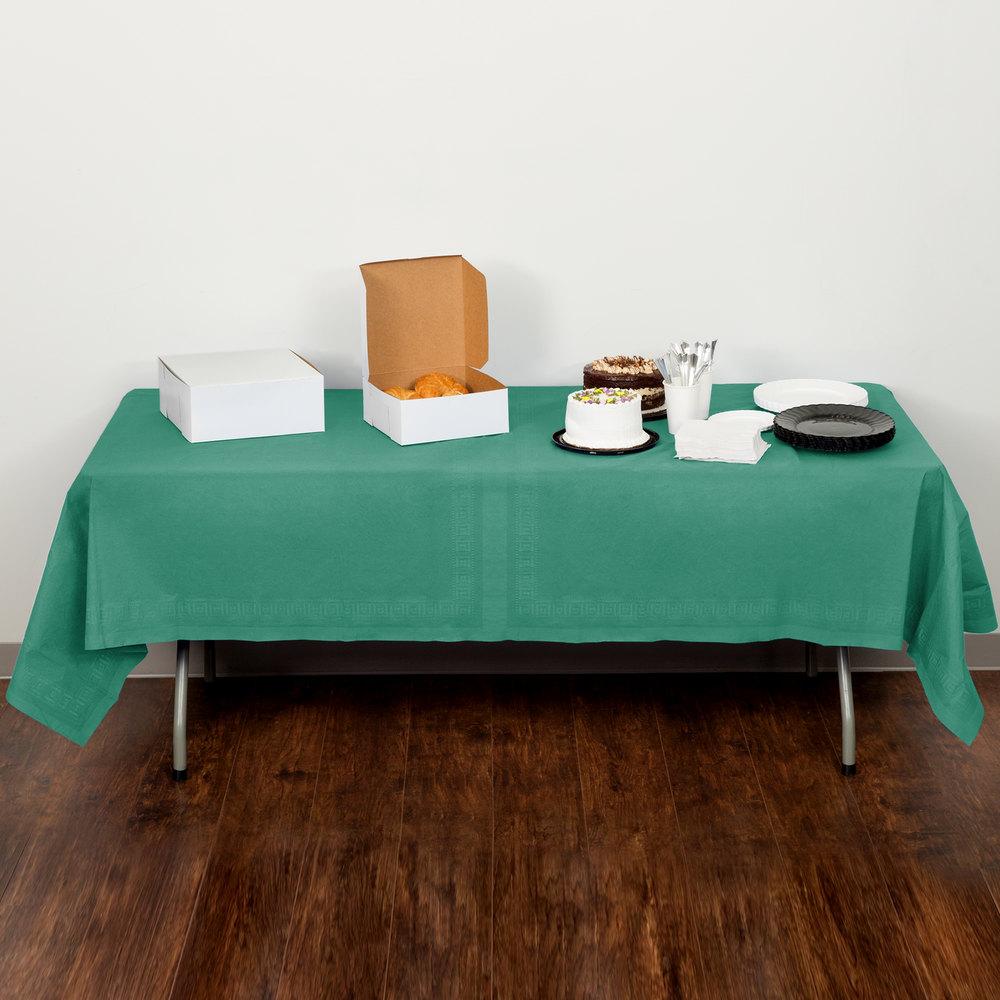 "Creative Converting 713124 54"" x 108"" Hunter Green Tissue / Poly Table Cover - 6/Pack"