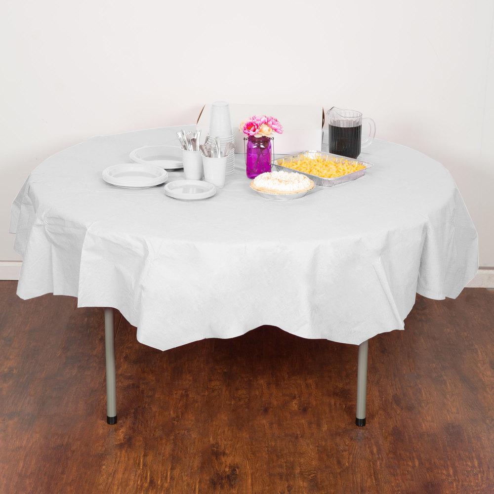 "Creative Converting 923272 82"" White OctyRound Tissue / Poly Table Cover - 12/Case"