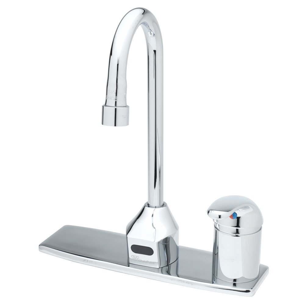 "T&S EC-3100-SM-4DP Vandal Resistant Chrome Plated Brass Electronic Hands Free Faucet with 11 5/16"" Rigid Gooseneck, Side Mount Control, AC/DC Control Module, Flow Control, and 17"" Supply Hoses"