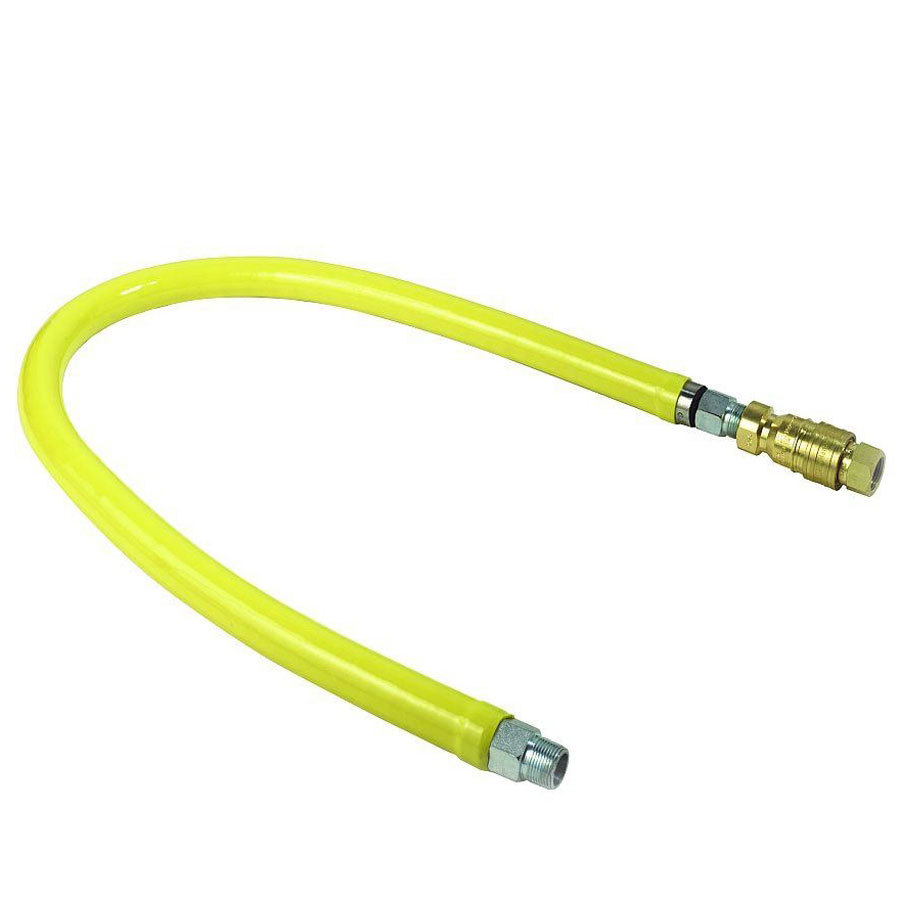 "T&S HG-4D-12 Safe-T-Link 12"" Coated Gas Connector Hose with 3/4"" NPT Male Ends, 90 Degree Elbow, and Street Elbow"