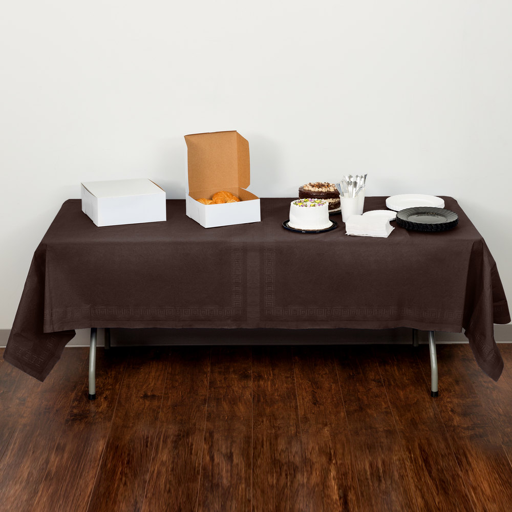 "Creative Converting 710382B 54"" x 108"" Chocolate Brown Tissue / Poly Table Cover - 24/Case"
