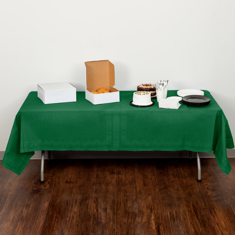 "Creative Converting 710201B 54"" x 108"" Emerald Green Tissue / Poly Table Cover - 24/Case"