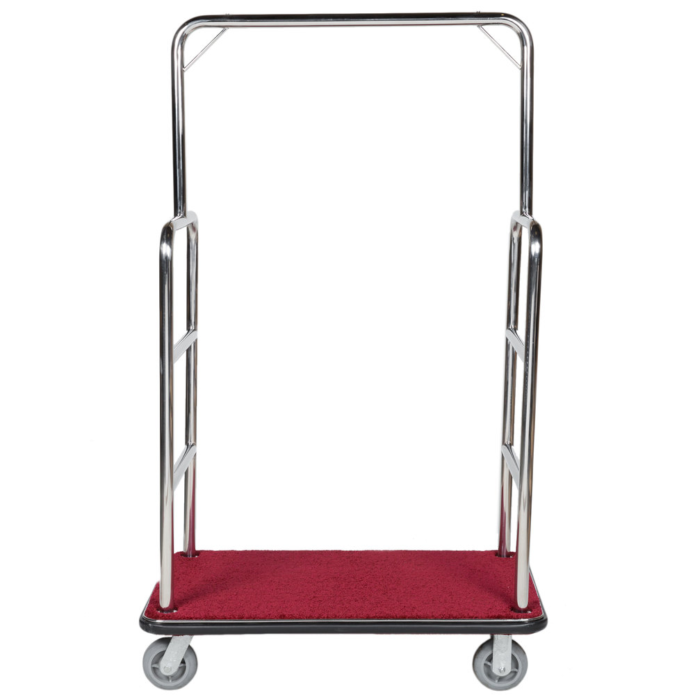 Aarco LC-1C Rectangular Stainless Steel Chrome Finish Luggage Cart ...