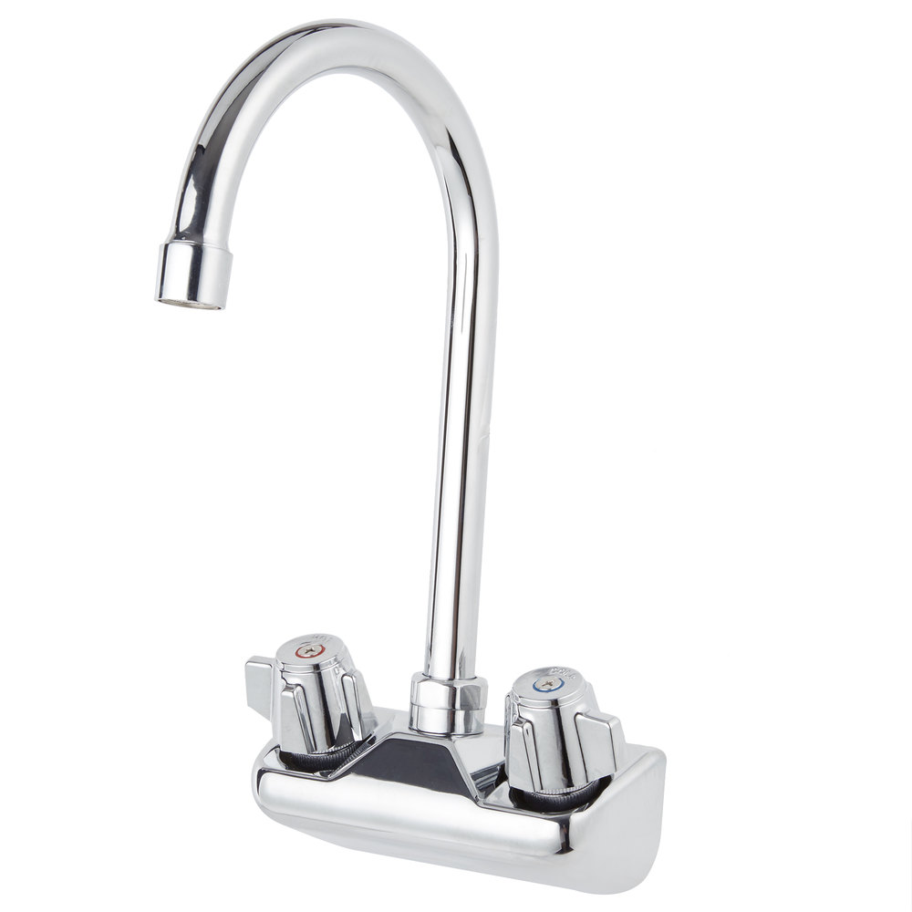 Regency Wall Mount Handsink Faucet with 4 inch Centers and 9 1/2 inch Gooseneck