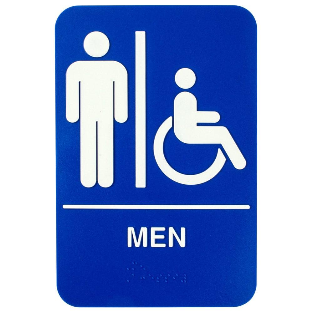 6 X 9 Men Restroom Sign With Braille