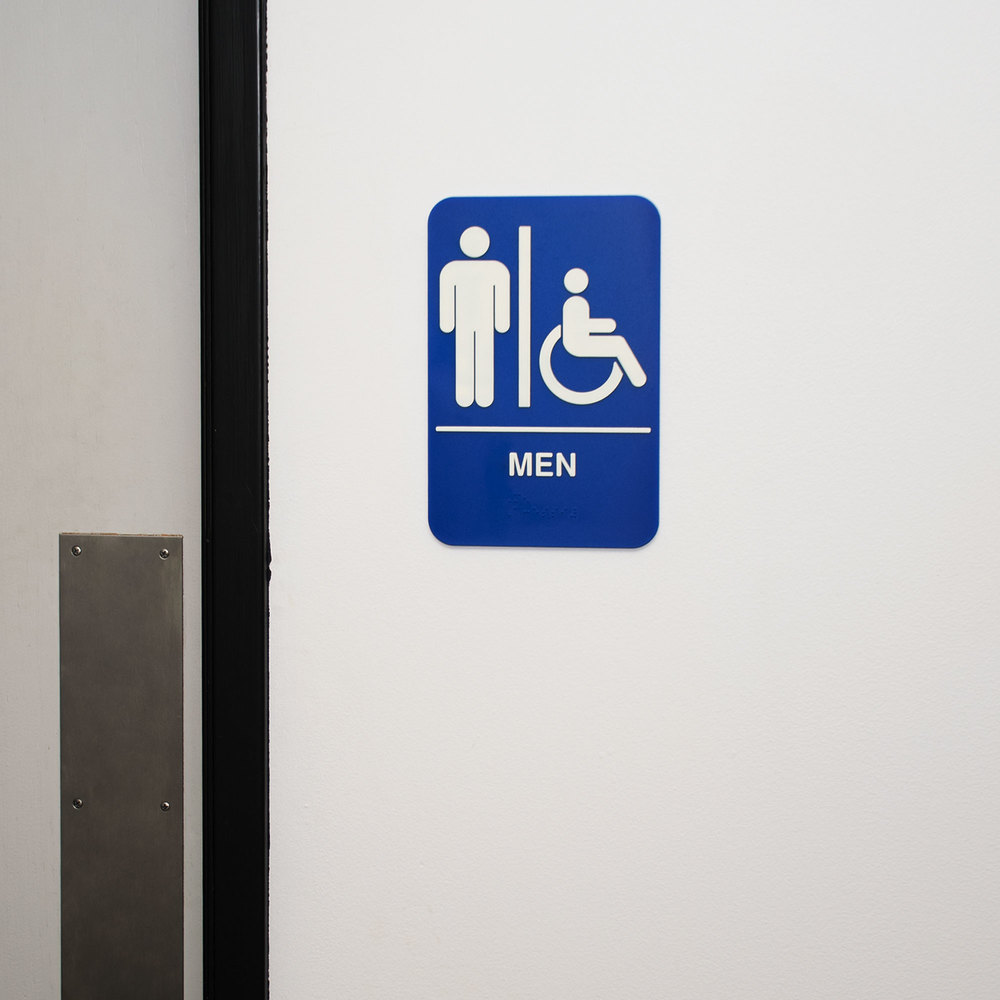 "Bathroom Signs With Braille ada men's restroom sign with braille - blue and white, 9"" x 6"""