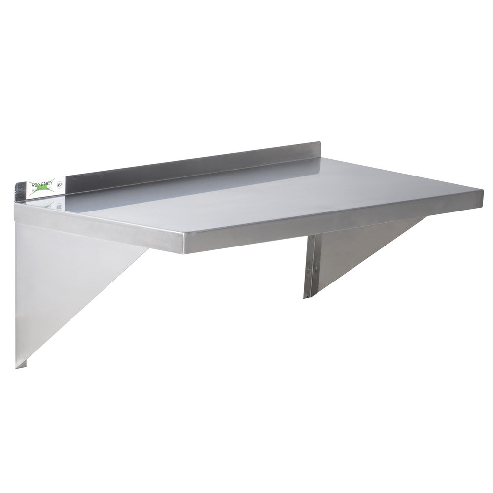 "Regency 16 Gauge Stainless Steel 18"" x 36"" Heavy Duty Wall Shelf"