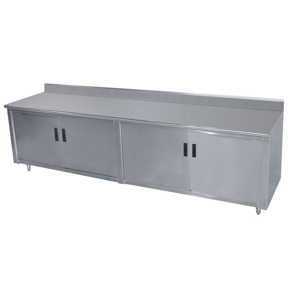 "Advance Tabco HK-SS-366M 36"" x 72"" 14 Gauge Enclosed Base Stainless Steel Work Table with Fixed Midshelf and 5"" Backsplash"