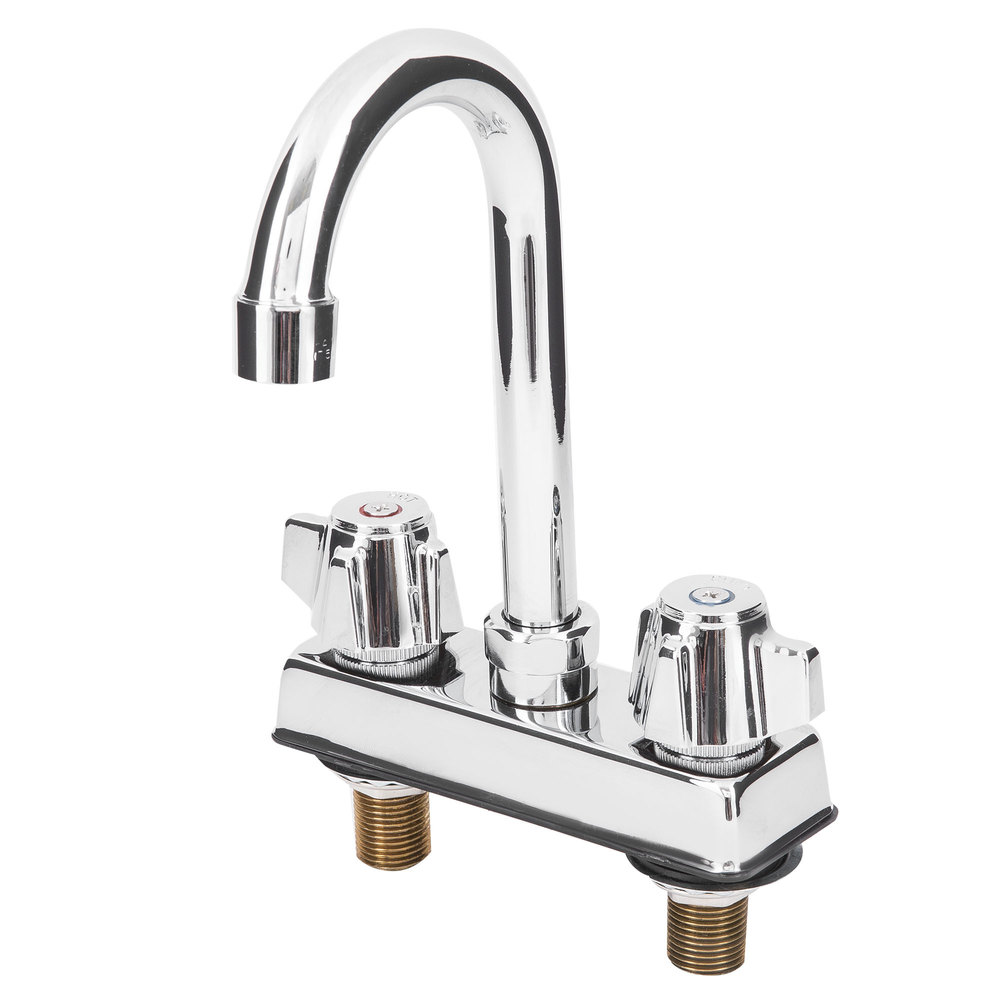 Deck Mount Faucet With 4 Centers And 6 Gooseneck Nozzle