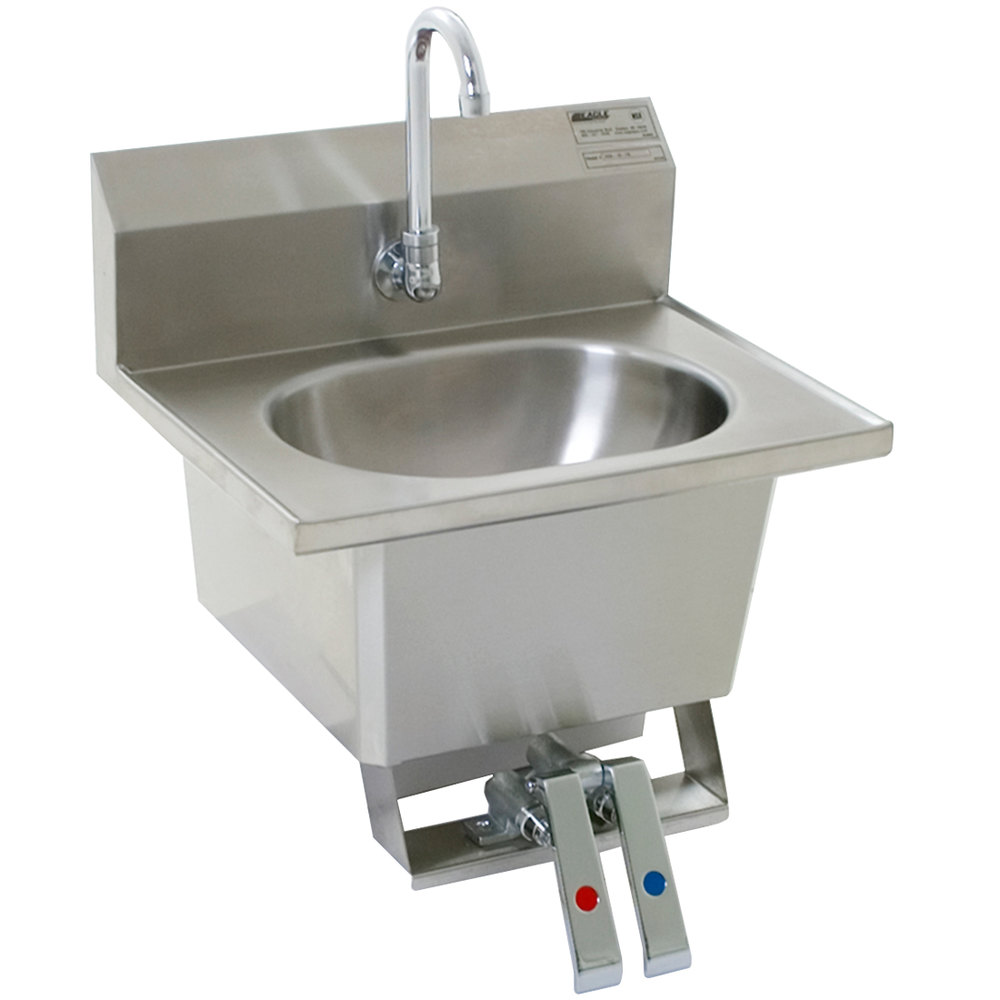 ... Mount Hand Sink with Gooseneck, Knee Pedals, Skirt, and Basket Drain
