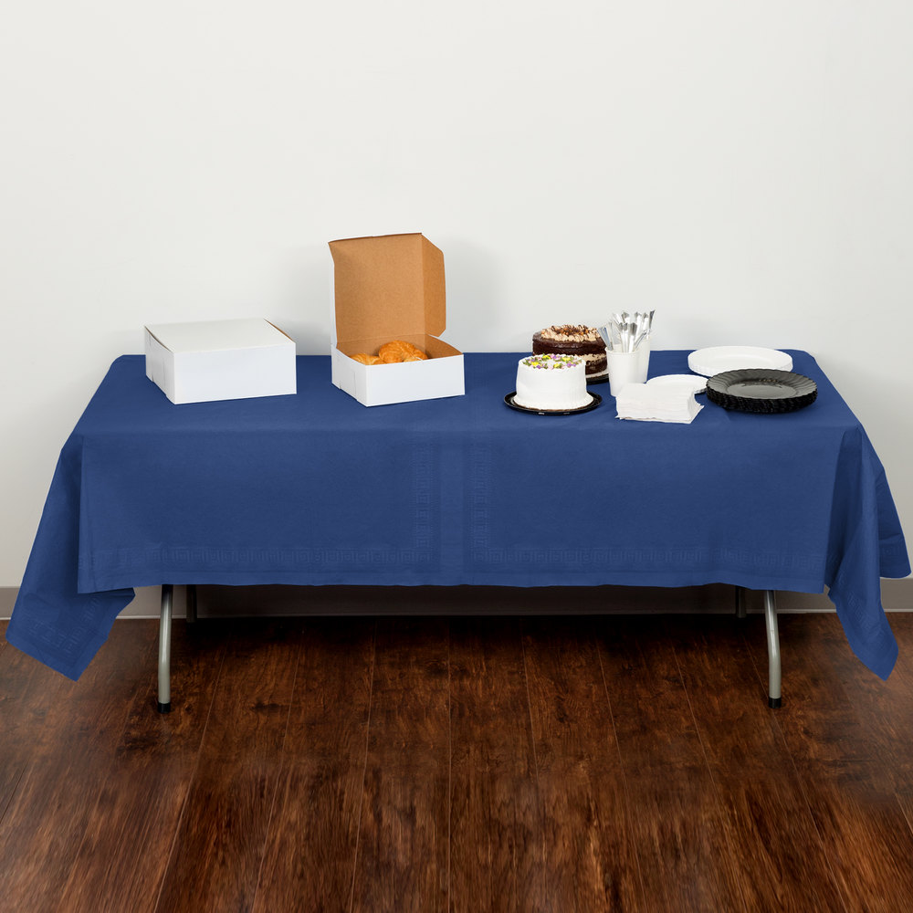 "Creative Converting 710242B 54"" x 108"" Navy Blue Tissue / Poly Table Cover - 24/Case"