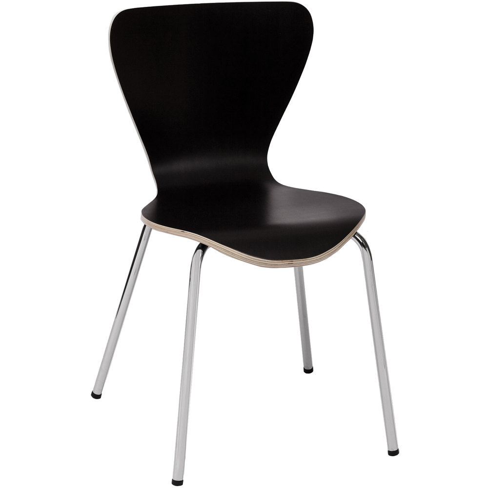 BFM Seating JA602CH-BL Leo Stackable Chrome Side Chair with Black Laminate Seat and Back
