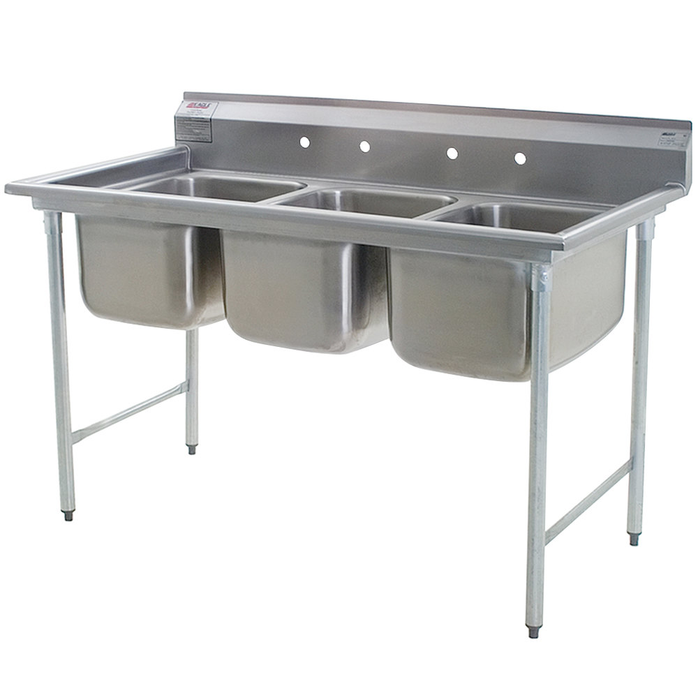 "Eagle Group 414-18-3 Three 18"" Bowl Stainless Steel Commercial Compartment Sink"