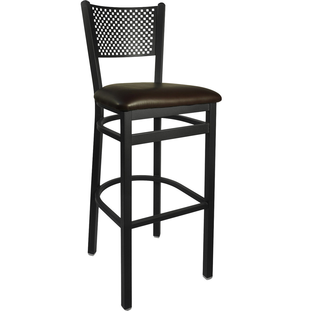"BFM Seating 2161BDBV-SB Polk Sand Black Steel Bar Height Chair with 2"" Dark Brown Vinyl Seat"