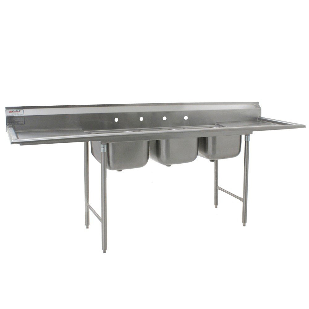 "Eagle Group 414-18-3-24 Three 18"" Bowl Stainless Steel Commercial Compartment Sink with Two 24"" Drainboards"