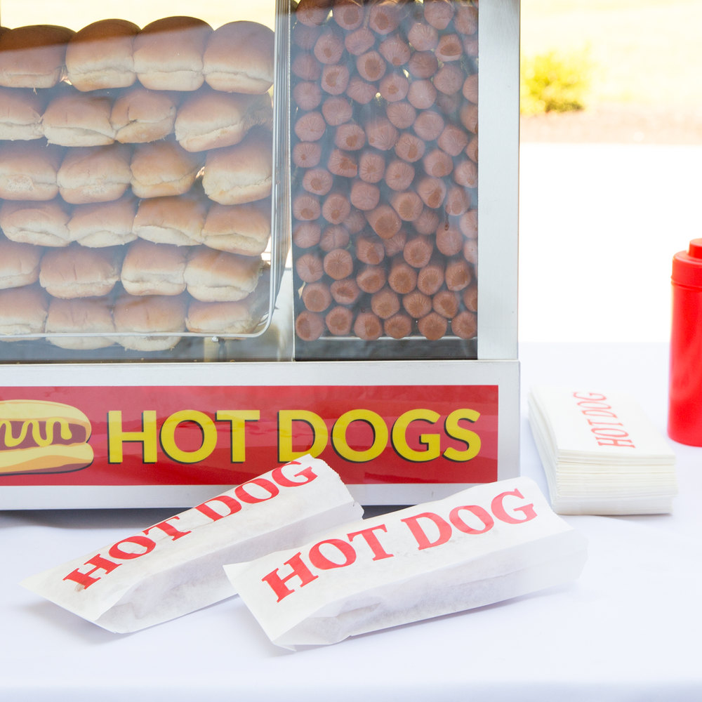 "Carnival King 3 1/2"" x 1 1/2"" x 9"" Printed Paper Hot Dog Bag - 1000 / Case"