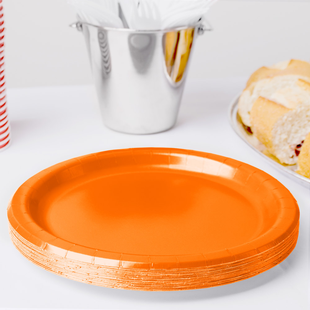 "Creative Converting 47191B 9"" Sunkissed Orange Paper Plate - 240/Case"