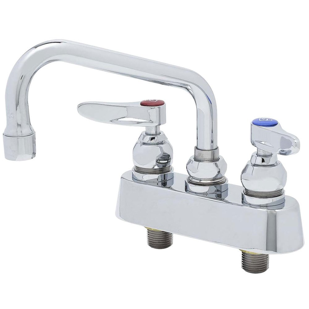 "T&S B-1100 Deck Mounted Workboard Faucet with 3 1/2"" Centers - 6"" Swing Nozzle"
