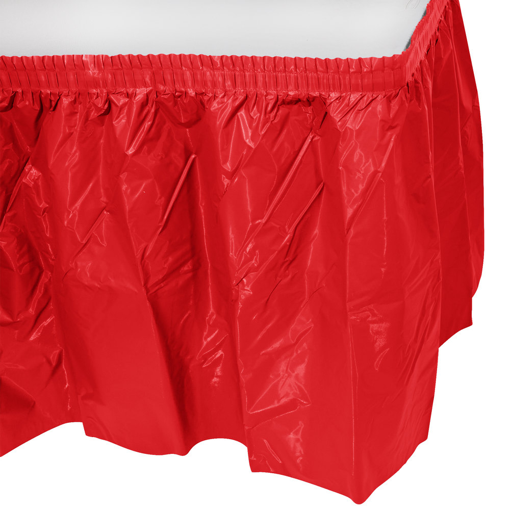 a17b68de0 Creative Converting 010052 14' Red Plastic Table Skirt