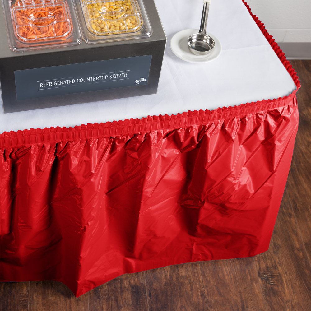 "Creative Converting 10052 14' x 29"" Classic Red Plastic Table Skirt"