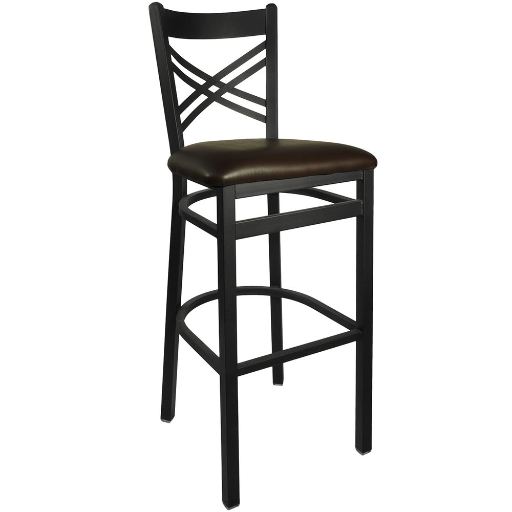 "BFM Seating 2130BDBV-SB Akrin Metal Barstool with 2"" Dark Brown Vinyl Seat"