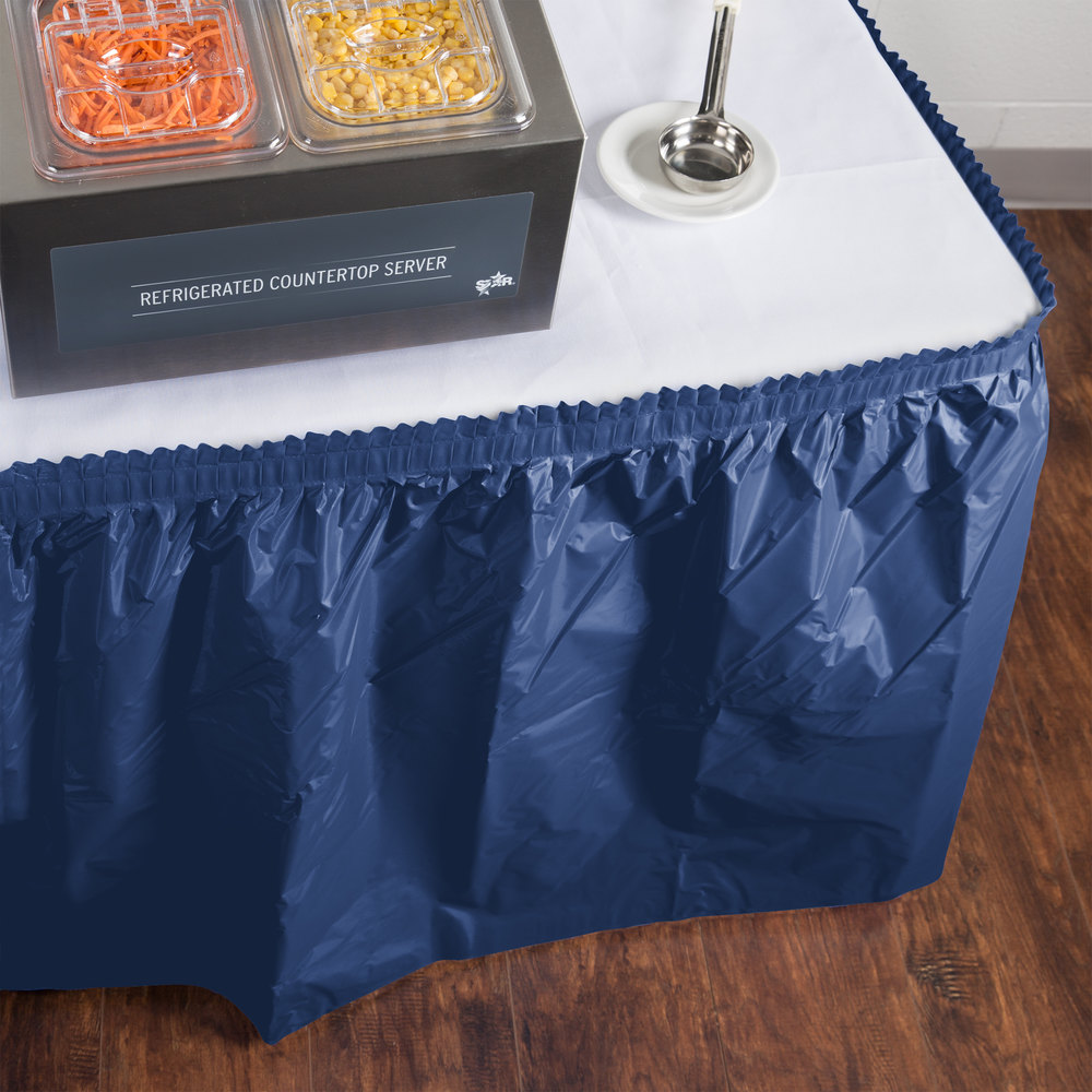 "Creative Converting 10036 14' x 29"" Navy Blue Plastic Table Skirt"
