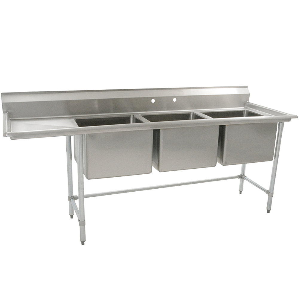 "Left Drainboard Eagle Group S16-20-3-18 Three 20"" x 20"" Bowl Stainless Steel Fabricated Compartment Sink with One 18"" Drainboard"