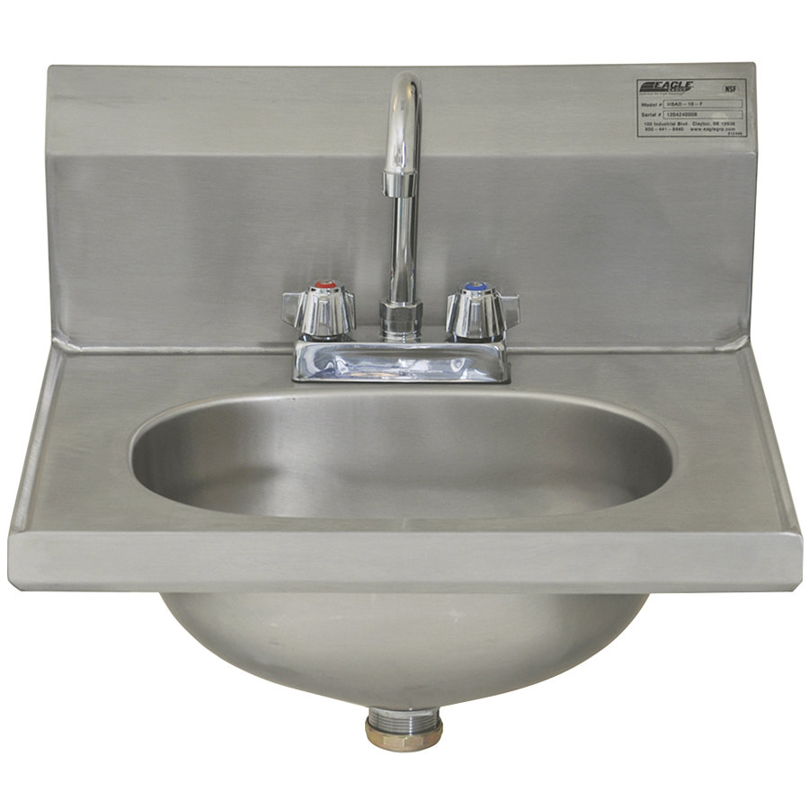 "Eagle Group HSAD-10-F 16 1/2"" x 18 7/8"" Hand Sink with Gooseneck Faucet and Basket Drain"