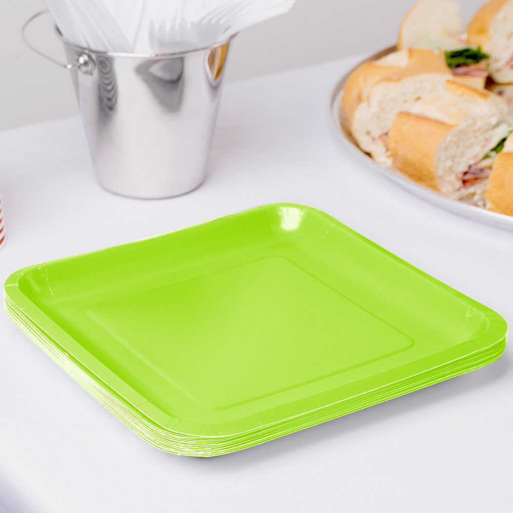 "Creative Converting 463123 9"" Fresh Lime Green Square Paper Plate - 180 / Case"
