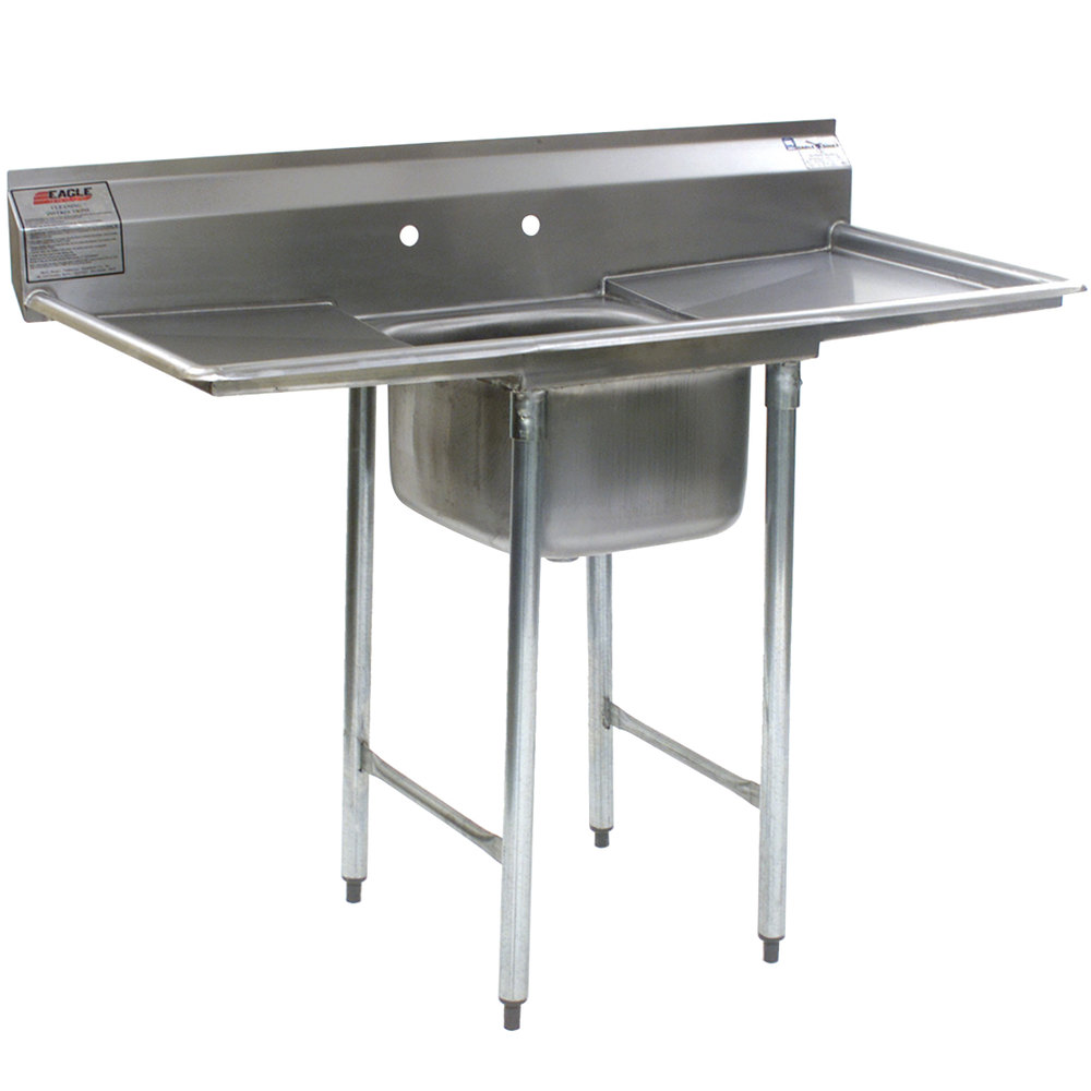 "Eagle Group 314-24-1-24 31 3/4"" x 74"" One Bowl Stainless Steel Commercial Compartment Sink with Two Drainboards"