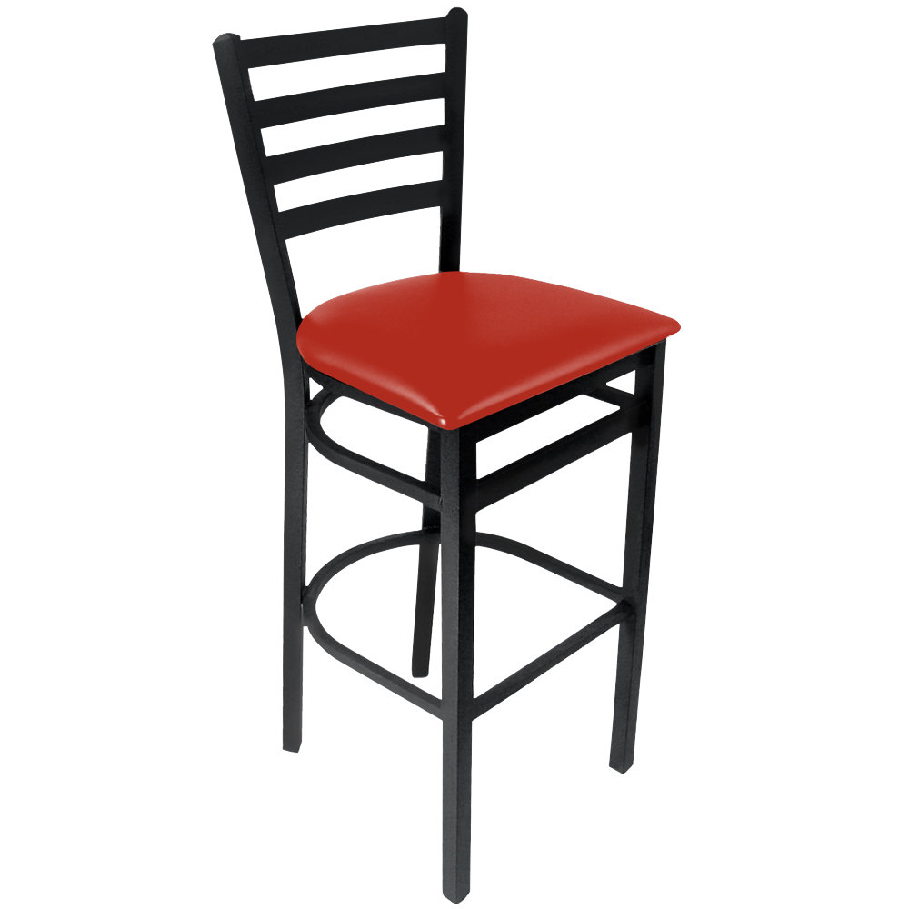 "BFM Seating 2160BRDV-SB Lima Sand Black Steel Bar Height Chair with 2"" Red Vinyl Seat"