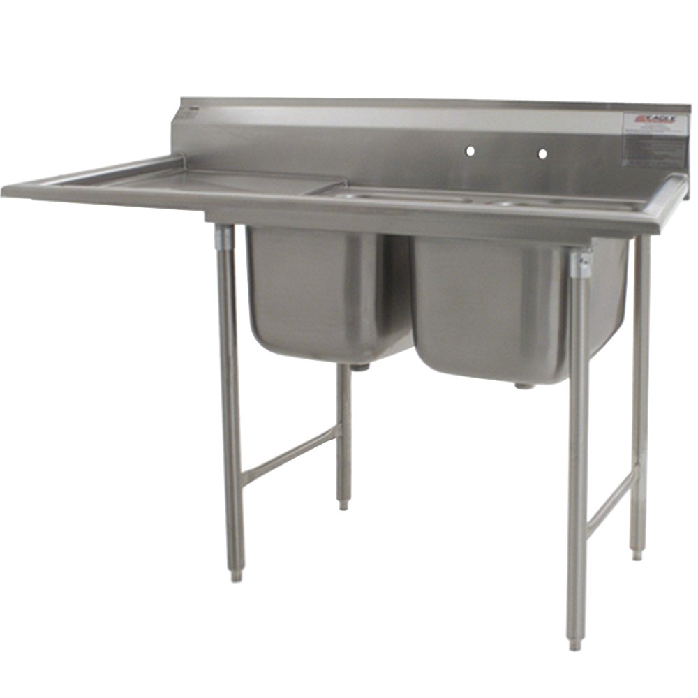 "Eagle Group 414-16-2-24 62 5/8"" x 27 1/2"" Two Bowl Stainless Steel Commercial Compartment Sink with Drainboard"