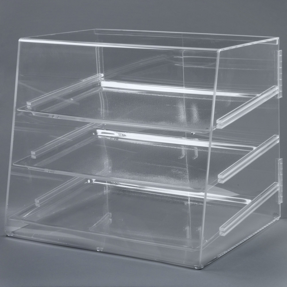 "Cal-Mil P254 Three Tier Slanted Front Acrylic Display Case - 26 1/2"" x 22 1/2"" x 23 1/2"""