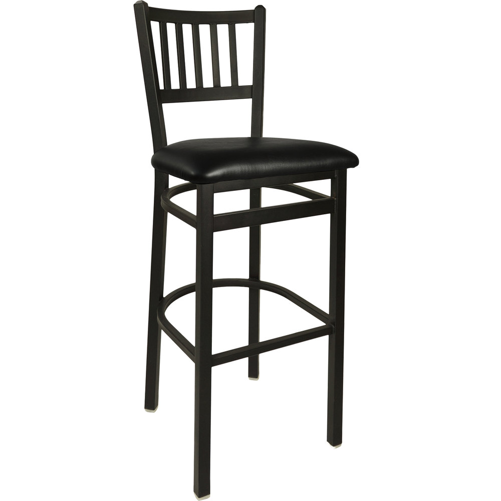 "BFM Seating 2090BBLV-SB Troy Sand Black Steel Bar Height Chair with 2"" Black Vinyl Seat"