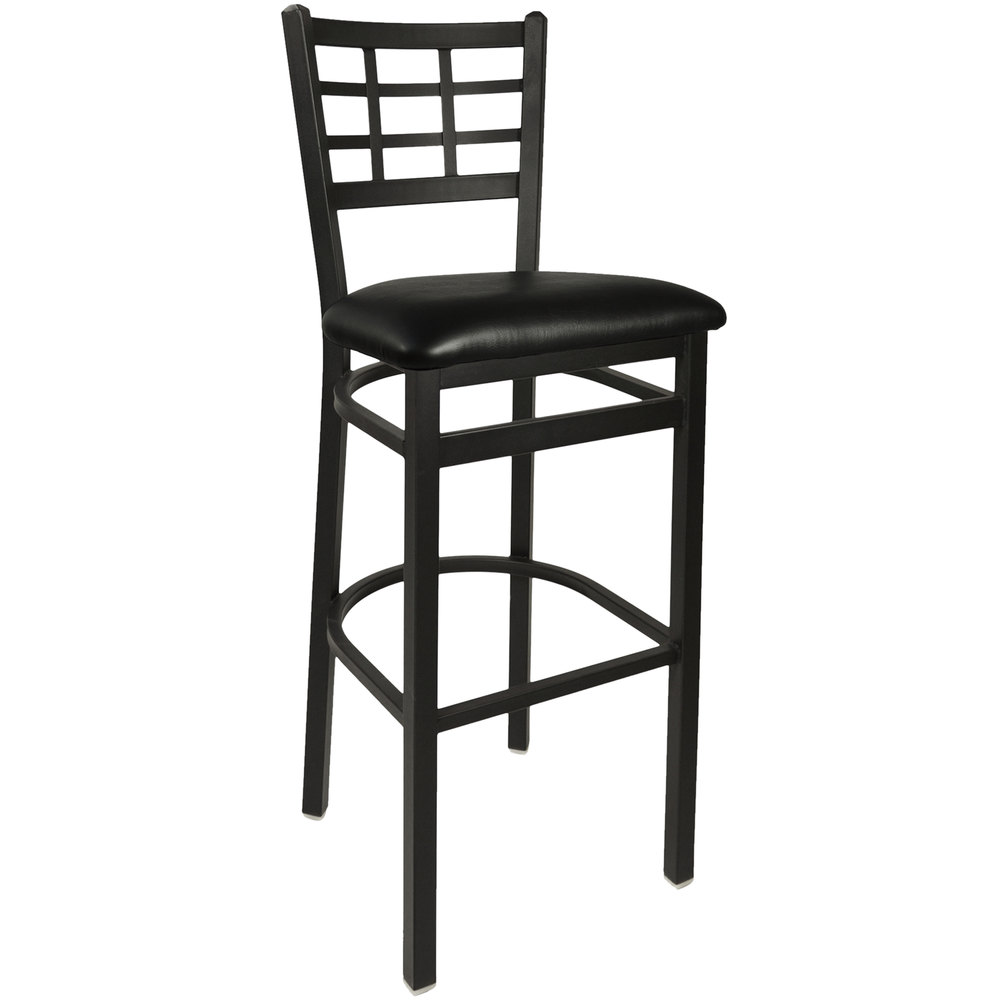 "BFM Seating 2163BBLV-SB Marietta Sand Black Steel Bar Height Chair with 2"" Black Vinyl Seat"