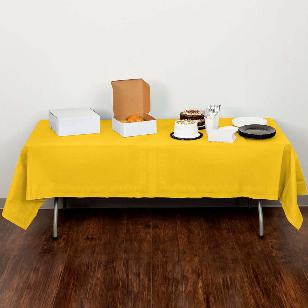 "Creative Converting 710234B 54"" x 108"" School Bus Yellow Tissue / Poly Table Cover - 24/Case"