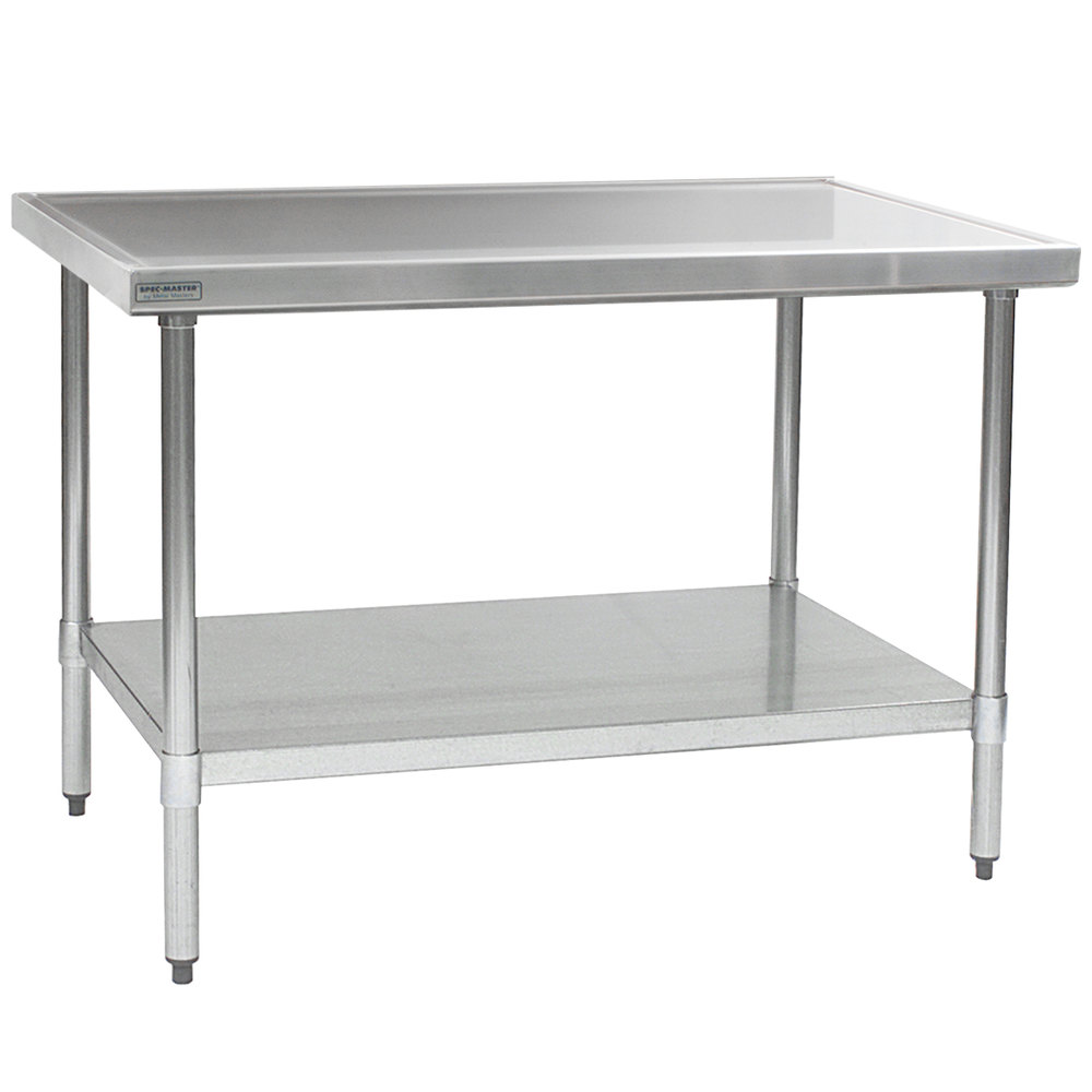 """eagle group t4848sem 48"""" x 48"""" stainless steel work table with"""