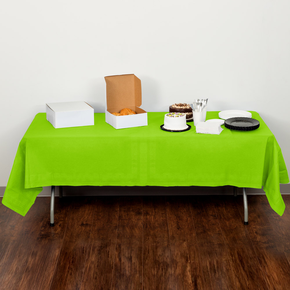 "Creative Converting 713123B 54"" x 108"" Fresh Lime Green Tissue / Poly Table Cover - 24/Case"
