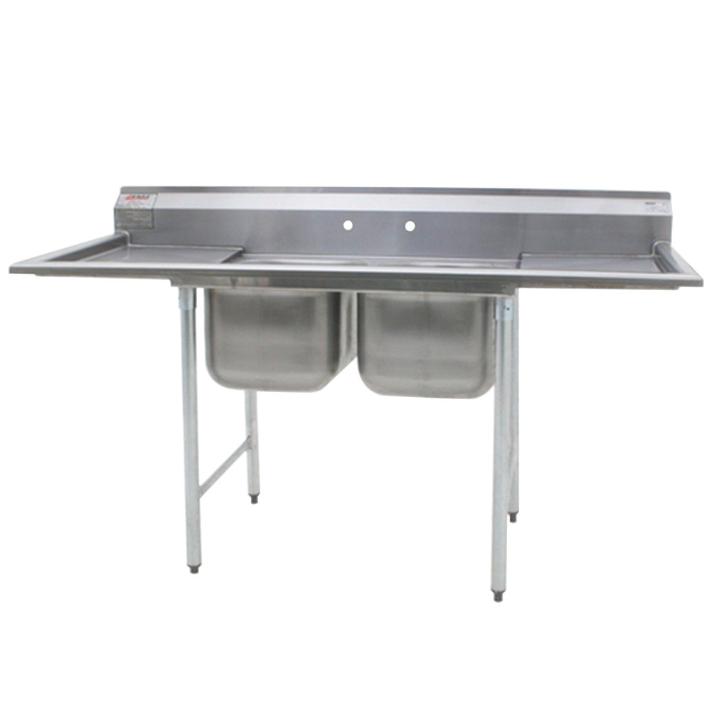 "Eagle Group 414-18-2-24 88"" x 33 3/8"" Two Bowl Stainless Steel Commercial Compartment Sink with Two Drainboards"