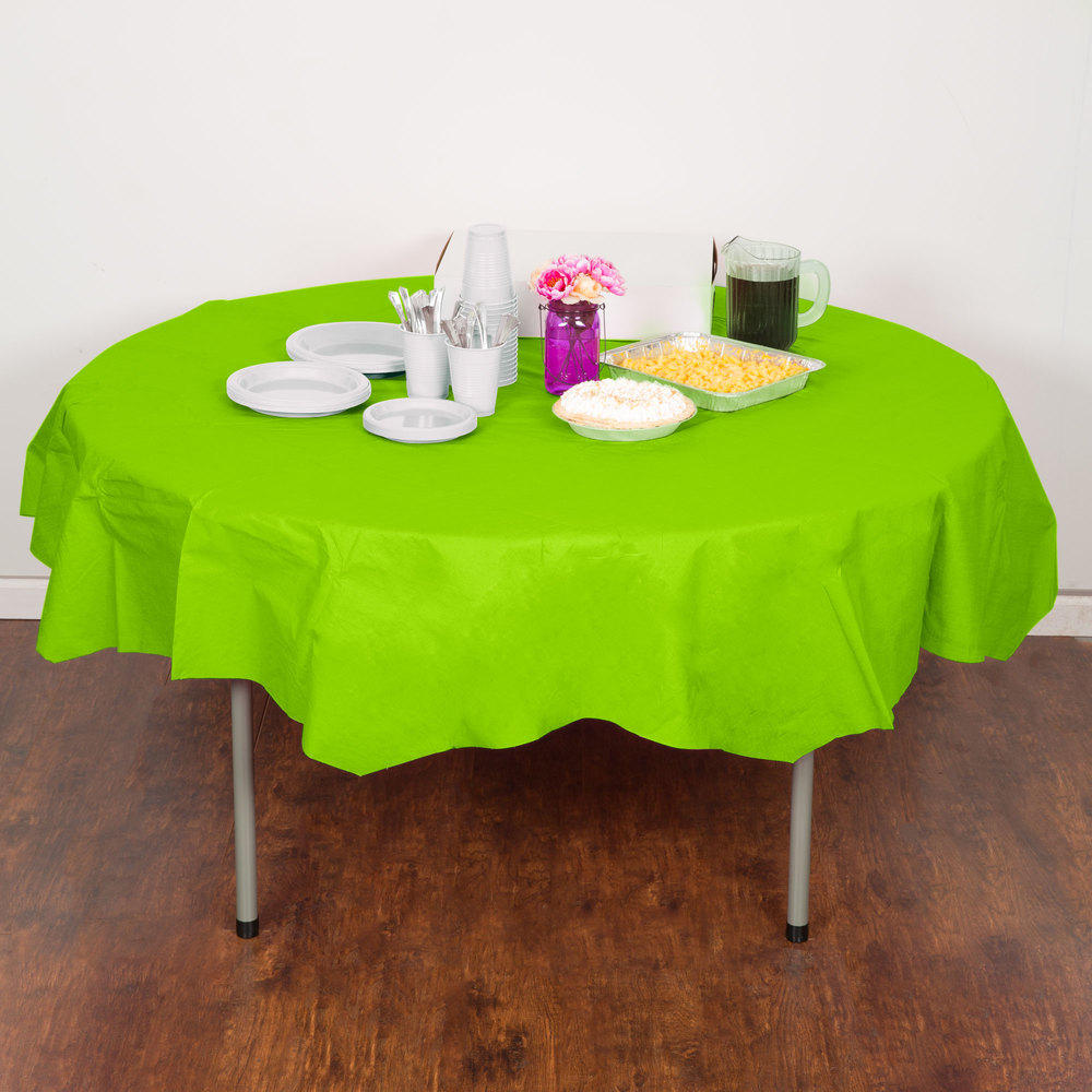 "Creative Converting 923123 82"" Fresh Lime Green OctyRound Tissue / Poly Table Cover - 12/Case"