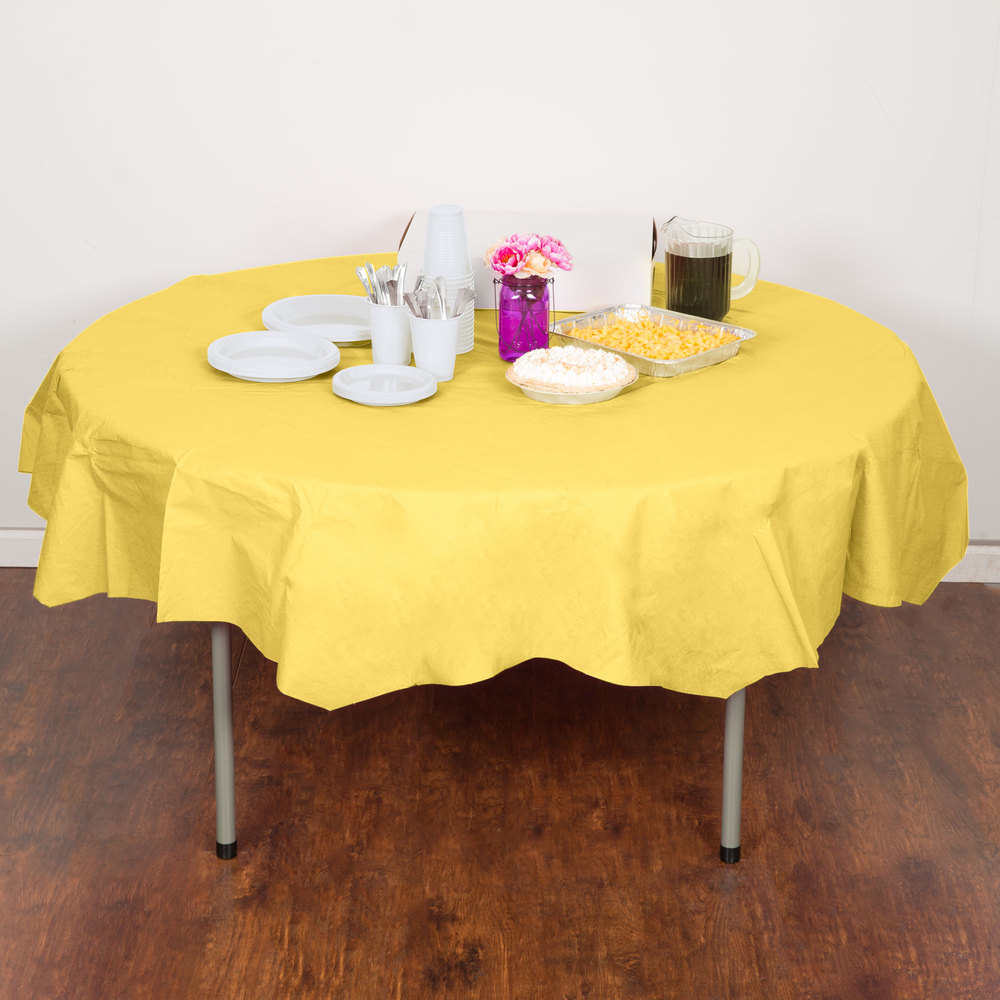 "Creative Converting 923266 82"" Mimosa Yellow OctyRound Tissue / Poly Table Cover - 12/Case"