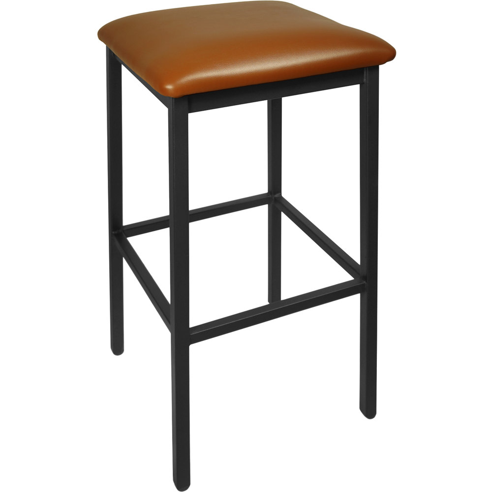 "BFM Seating 2510BLBV-SB Trent Sand Black Steel Barstool with 2"" Light Brown Vinyl Seat"