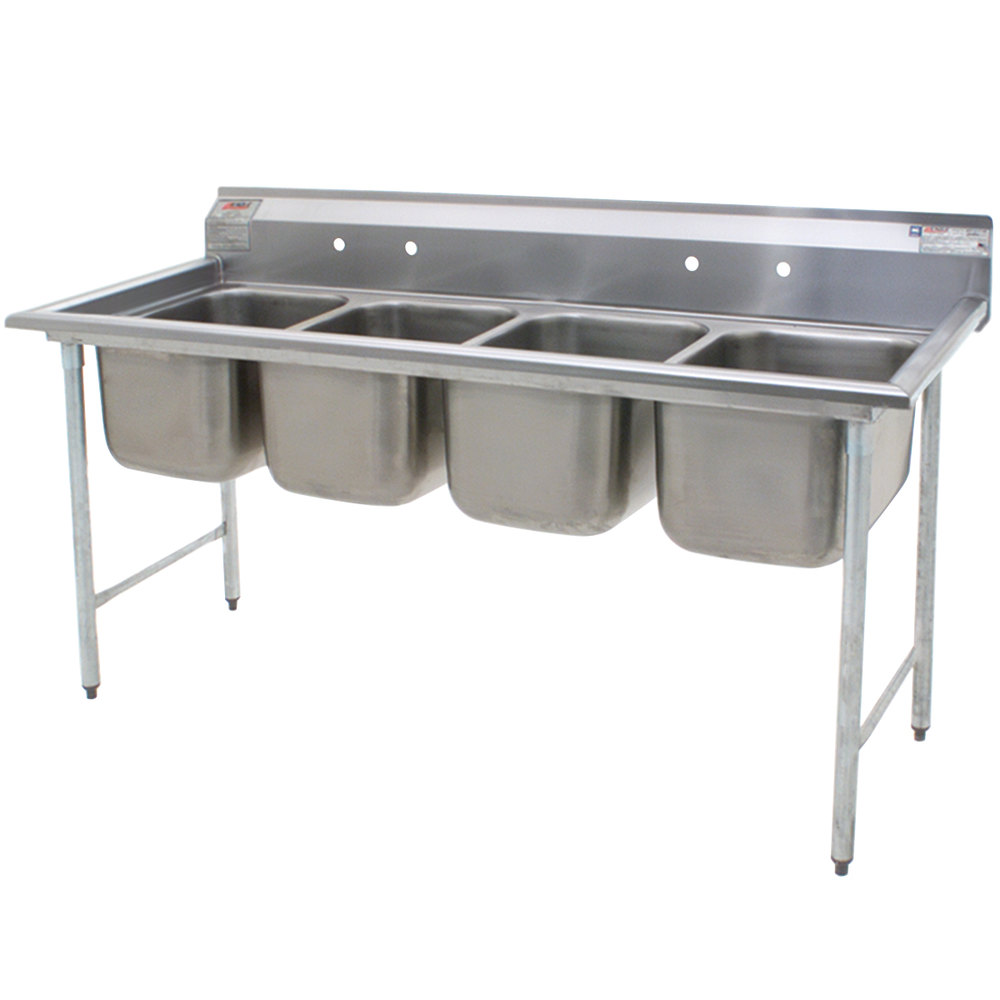 Eagle Group 314-24-4 Four Compartment Stainless Steel Commercial Sink without Drainboards - 109 1/2""