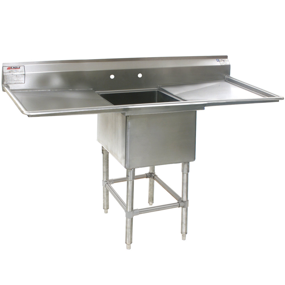 "Eagle Group FN2820-1-24-14/3 One 28"" x 20"" Bowl Stainless Steel Spec-Master Commercial Compartment Sink with Two 24"" Drainboards"